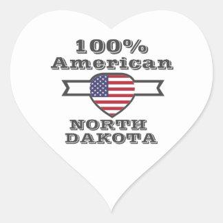 Adesivo Coração Americano de 100%, North Dakota