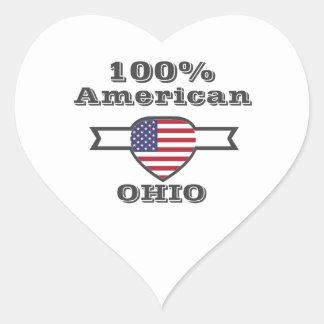 Adesivo Coração Americano de 100%, Ohio