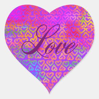 Adesivo Coração Amor dos corações do arco-íris