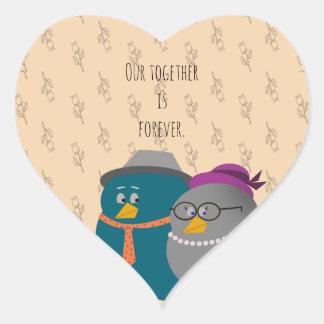 Adesivo Coração Amor retro dos pássaros da ilustração junto para