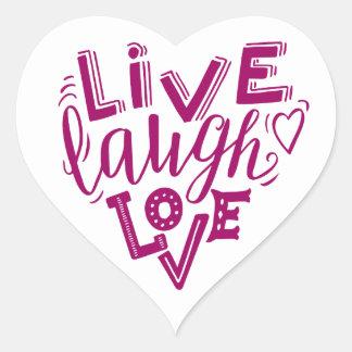 Adesivo Coração Amor vivo do riso - citações da rotulação da mão