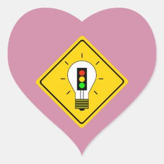 Adesivo Coração Ampola do sinal de trânsito adiante