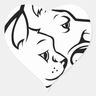 Adesivo Coração Animais de estimação gato e ícone das caras do cão