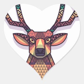 Adesivo Coração animal dos cervos com chifres