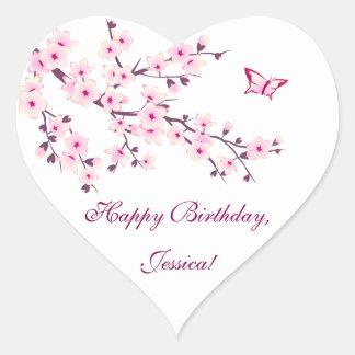Adesivo Coração Aniversário cor-de-rosa das flores de cerejeira