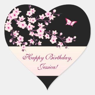 Adesivo Coração Aniversário floral do preto do rosa das flores de