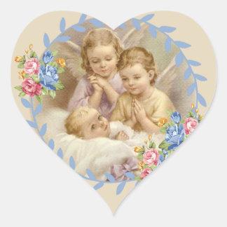 Adesivo Coração Anjo-da-guarda com a grinalda dos rosas de bebê
