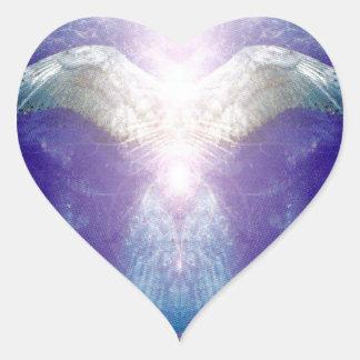 Adesivo Coração Anjo violeta de prata