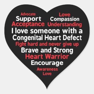 Adesivo Coração Apoio congenital da semana da consciência do