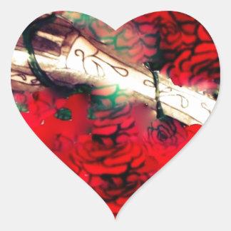 Adesivo Coração Armas e rosas