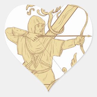 Adesivo Coração Arqueiro medieval que aponta o desenhar da letra Z