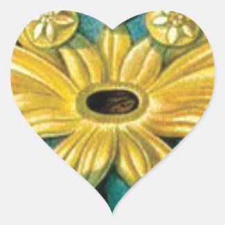 Adesivo Coração arte amarela da explosão da flor