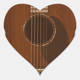 Adesivo Coração Arte da guitarra acústica