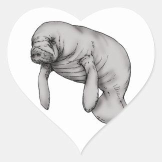 Adesivo Coração arte do peixe-boi