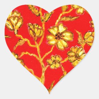 Adesivo Coração Arte dourada de Sakura