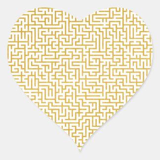 Adesivo Coração Arte moderna elegante do labirinto - ouro & branco