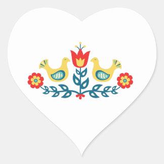 Adesivo Coração Arte popular escandinava