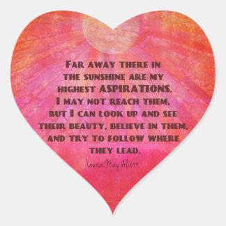Adesivo Coração As citações as mais altas Louisa das aspirações