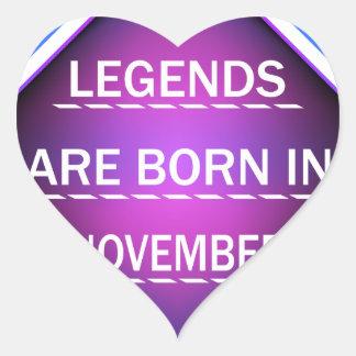 Adesivo Coração As legendas são nascidas em novembro