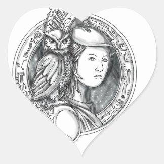Adesivo Coração Athena com a coruja no Cir do circuito eletrônico