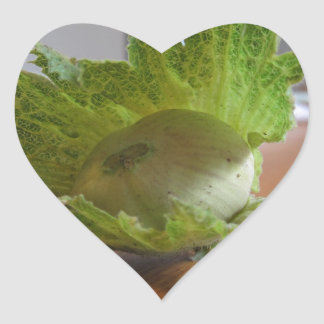 Adesivo Coração Avelã verdes frescas em uma mesa de madeira