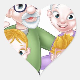 Adesivo Coração Avós e netos dos desenhos animados