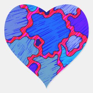 Adesivo Coração Azul e cor-de-rosa abstratos