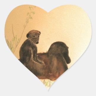 Adesivo Coração Babuínos da mãe & do bebê - primatas dos macacos