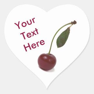 Adesivo Coração Baga vermelha da cereja e seu texto