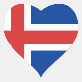 Adesivo Coração Baixo custo! Bandeira de Islândia
