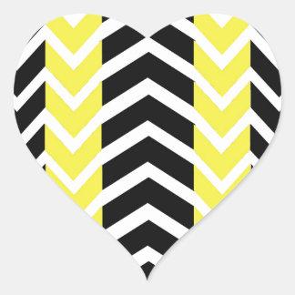 Adesivo Coração Baleia amarela e preta Chevron