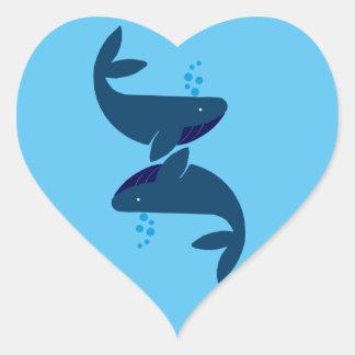 Adesivo Coração baleias azuis
