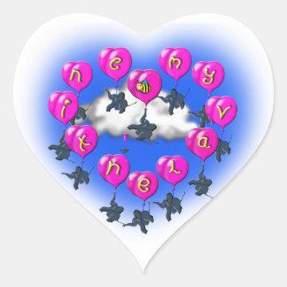 Adesivo Coração baloons dos namorados com elefantes