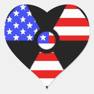 Adesivo Coração Bandeira americana do símbolo da radiação