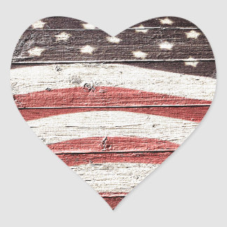 Adesivo Coração Bandeira americana pintada na textura de madeira