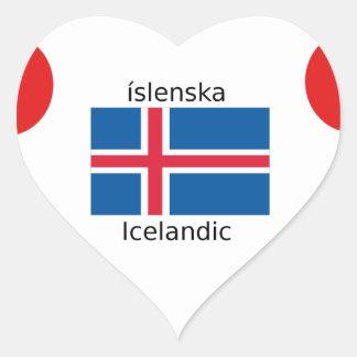 Adesivo Coração Bandeira de Islândia e design islandês da língua