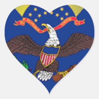 Adesivo Coração Bandeira de North Dakota