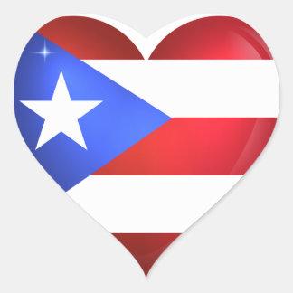 Adesivo Coração Bandeira de Puerto Rico
