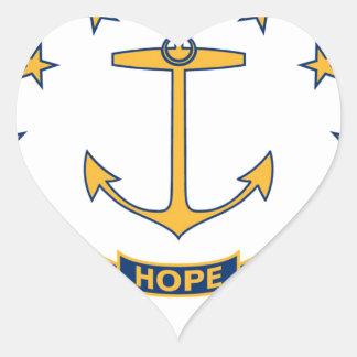 Adesivo Coração Bandeira de Rhode - ilha