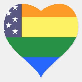 Adesivo Coração Bandeira do orgulho do arco-íris dos E.U.