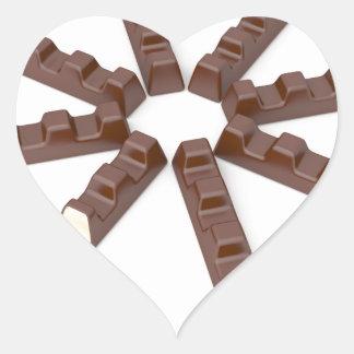Adesivo Coração Bares de chocolate do leite