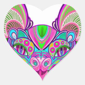 Adesivo Coração Bastão psicadélico do arco-íris