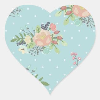 Adesivo Coração Beauty seamless floral pattern