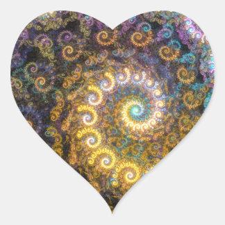 Adesivo Coração Beleza do fractal do nautilus