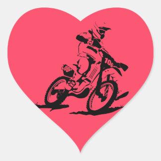 Adesivo Coração Bicicleta e cavaleiro simples de Motorcross