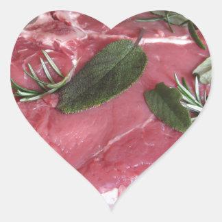 Adesivo Coração Bife marmoreado cru fresco da carne