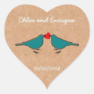 Adesivo Coração Bluebirds e casamento do coração do amor