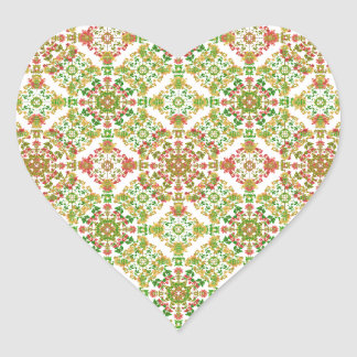 Adesivo Coração Boho floral estilizado colorido