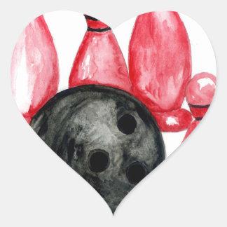 Adesivo Coração Bola de boliche Sketch2