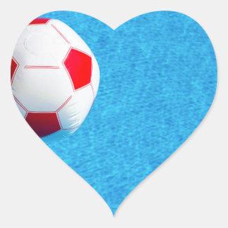 Adesivo Coração bola de praia Vermelho-branca que flutua na